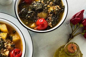 vegan winter kale soup with buckwhea