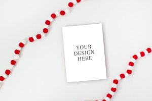 Holiday Card Mockup with Pom Poms