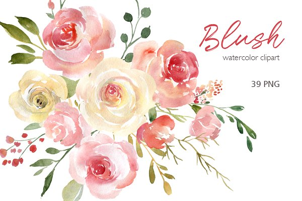 Blush Watercolor Flowers Roses Peon…