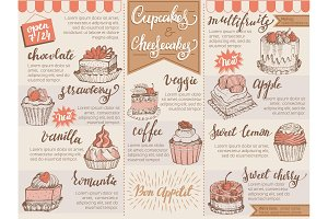 Menu dessert vector cafe design