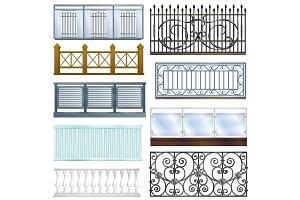 Balcony railing vector vintage