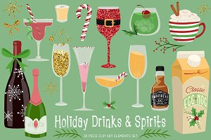 Holiday Drinks & Spirits Clipart