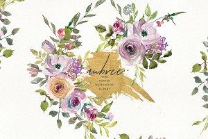 Watercolor Pink Mauve Subtle Flowers