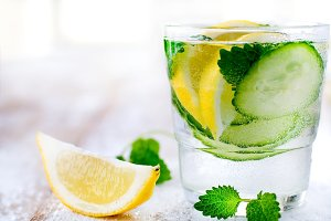 Flavored water with cucumber & lemon