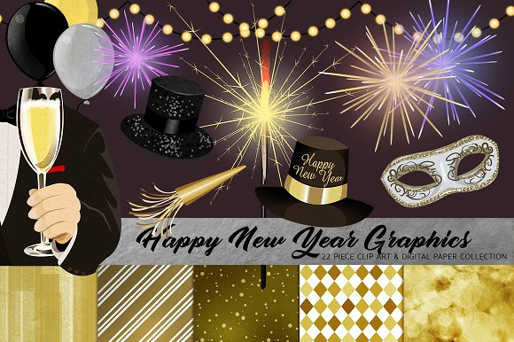 happy new year clip art set objects