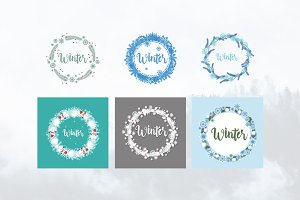 6 Winter Snowflake Frame Wreath Card