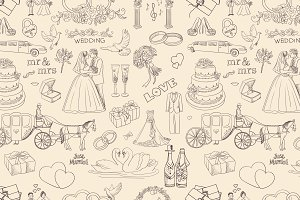 Seamless Pattern With Wedding Icons,