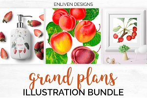 Watercolor Fruits Bundle: Set 01