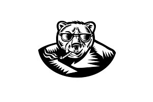 Bear Smoking Cigar Woodcut