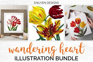 Watercolor Flowers: Tulips Set 01