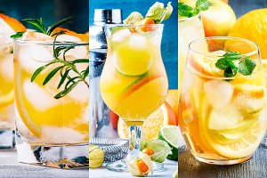 Alcoholic cocktails with orange in a