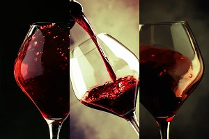 Red wine, alcohol collection in glas