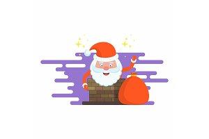 Santa Claus into the chimney