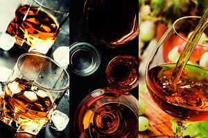 Photo collage, strong alcoholic drin