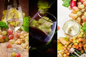 Red and white wine, alcohol collecti
