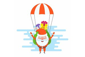 Santa Claus flying by parachute