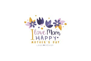 I love Mom logo design, Happy