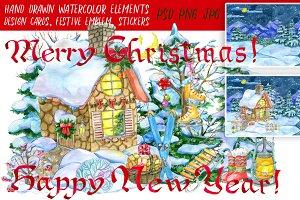 Christmas watercolor clip art set