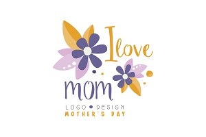 I love Mom logo design, Mothers Day