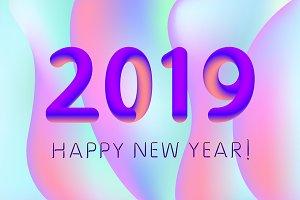 gradient design 2019 Happy New Year