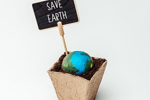 earth model and sign save earth in f