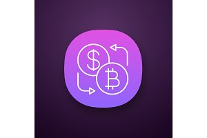 Bitcoin and dollar exchange app icon