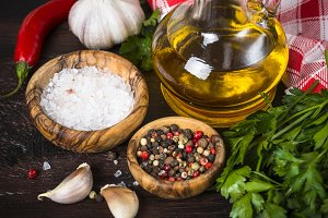 Ingredients for cooking on wooden
