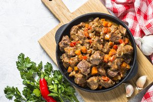 Beef stew with vegetables.