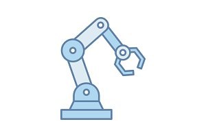 Industrial robotic arm color icon