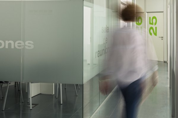 Blurred woman on business center