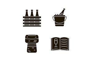 Alcohol glyph icons set