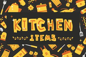 Illustrations kitchen items
