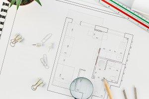 Interior designer table workplace wi