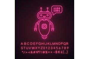 Chatbot coding neon light icon