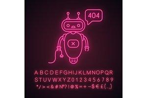 Not found error chatbot neon icon