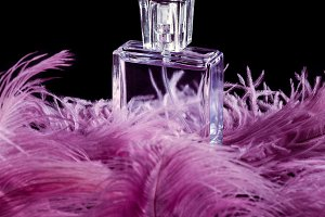 bottle of perfume standing on pink f