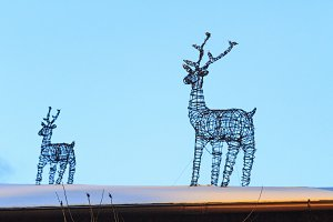 wire reindeer adorn the roof of the