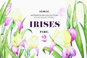 Irises. Watercolor Floral Set. Part2