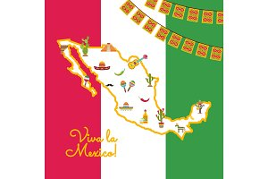 Vector flat Mexico attributes on map