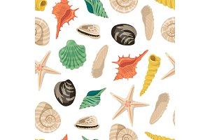 Vector cartoon sea shells pattern or