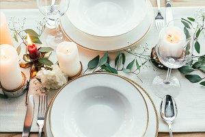 close up view of stylish table setti