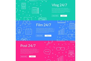 Vector line blog icons web banner