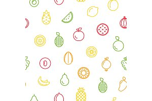 Vector line fruits icons pattern or