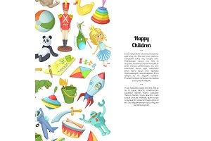 Vector cartoon children toys