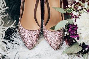 close up view of bridal shoes, weddi