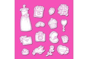 Vector doodle wedding elements