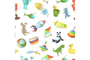 Vector cartoon children toys pattern