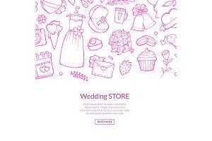 Vector doodle wedding elements