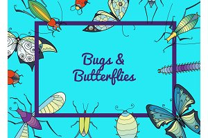 Vector hand drawn insects background