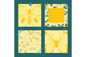 Vector hand drawn insects cute notes